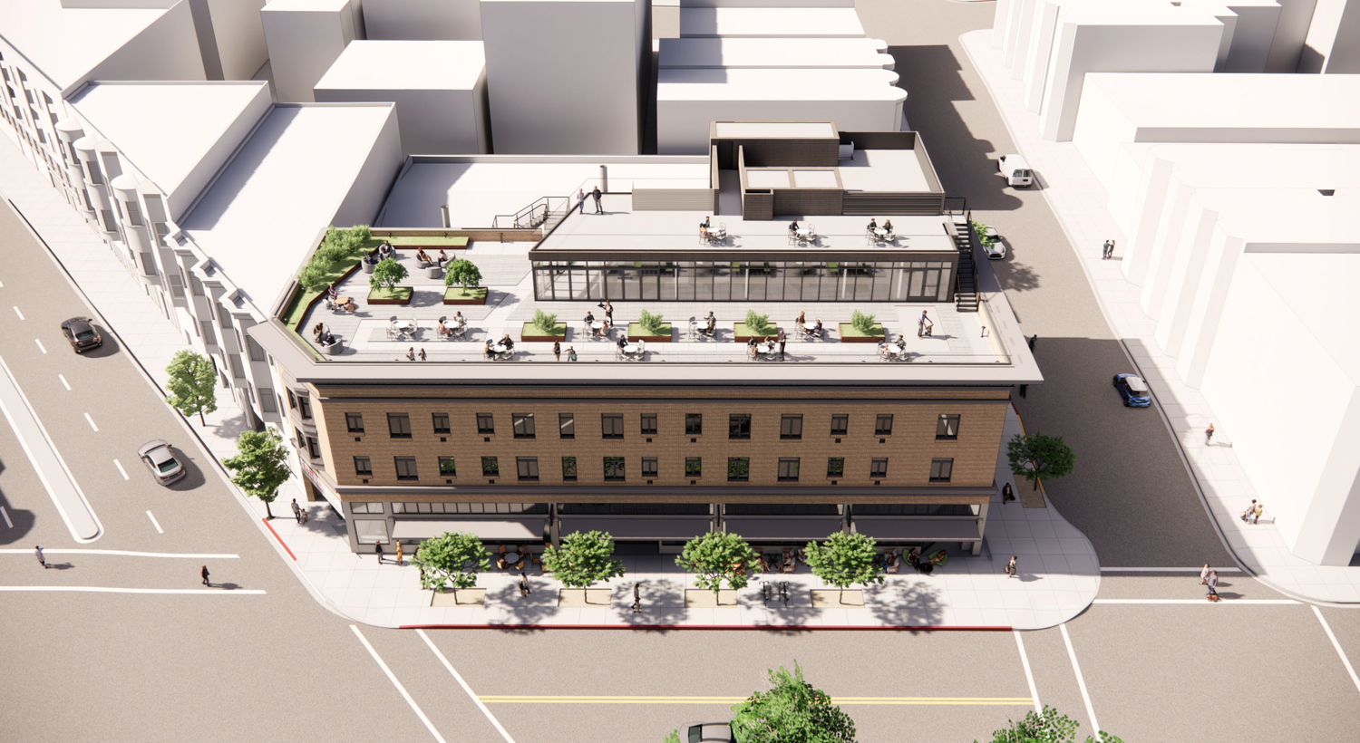 659 Union Street aerial view, rendering by Gould Evans