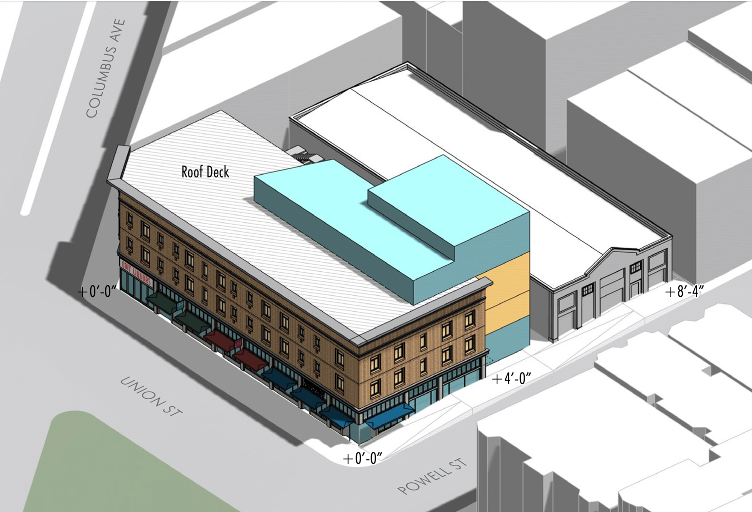 659 Union Street updated massing, rendering by Gould Evans