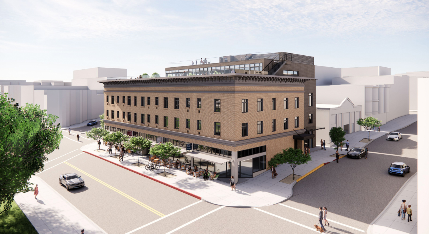 659 Union Street view from Powell and Union corner, rendering by Gould Evans