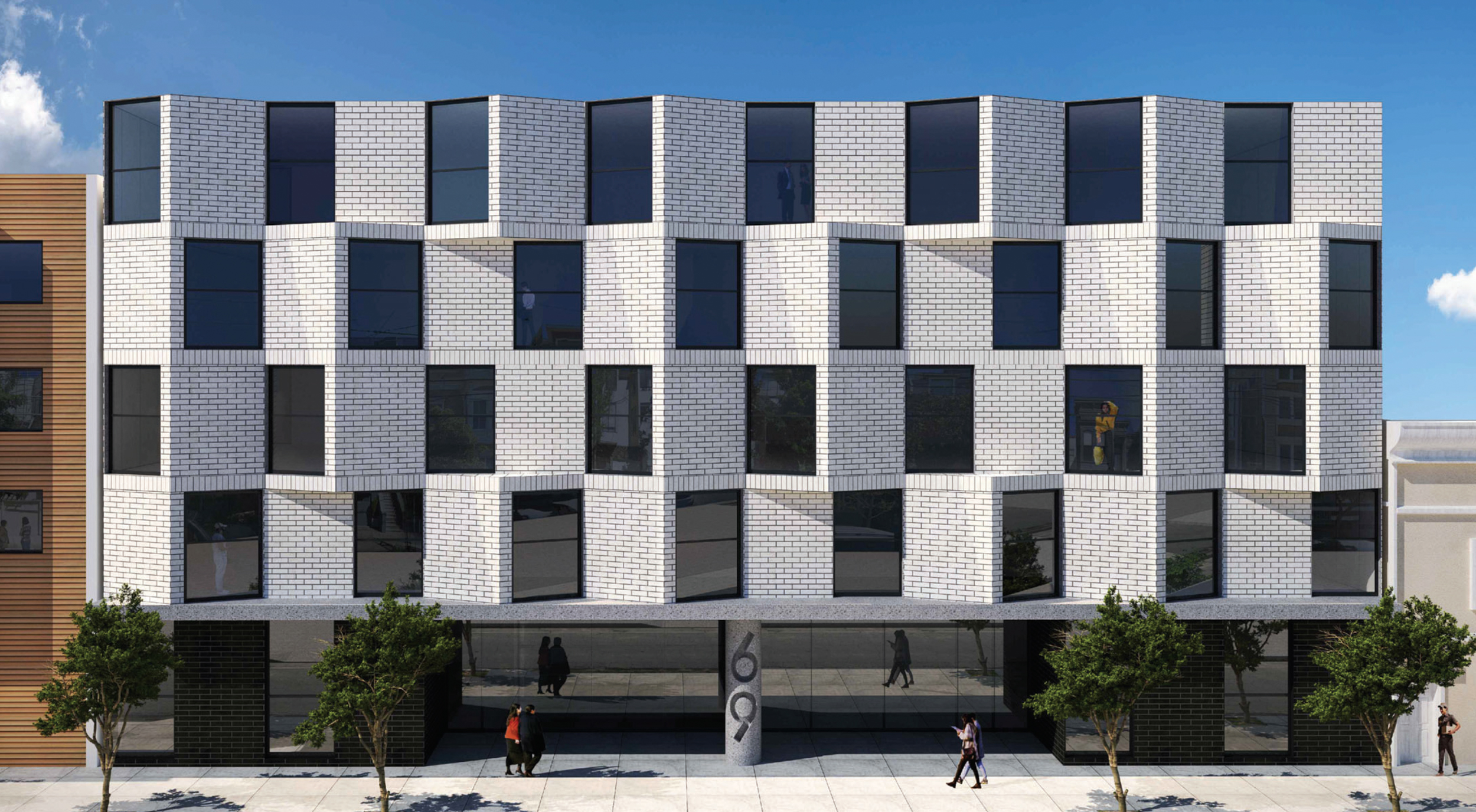 67-69 Belcher Street elevation, rendering by Stanley Saitowitz | Natoma Architects