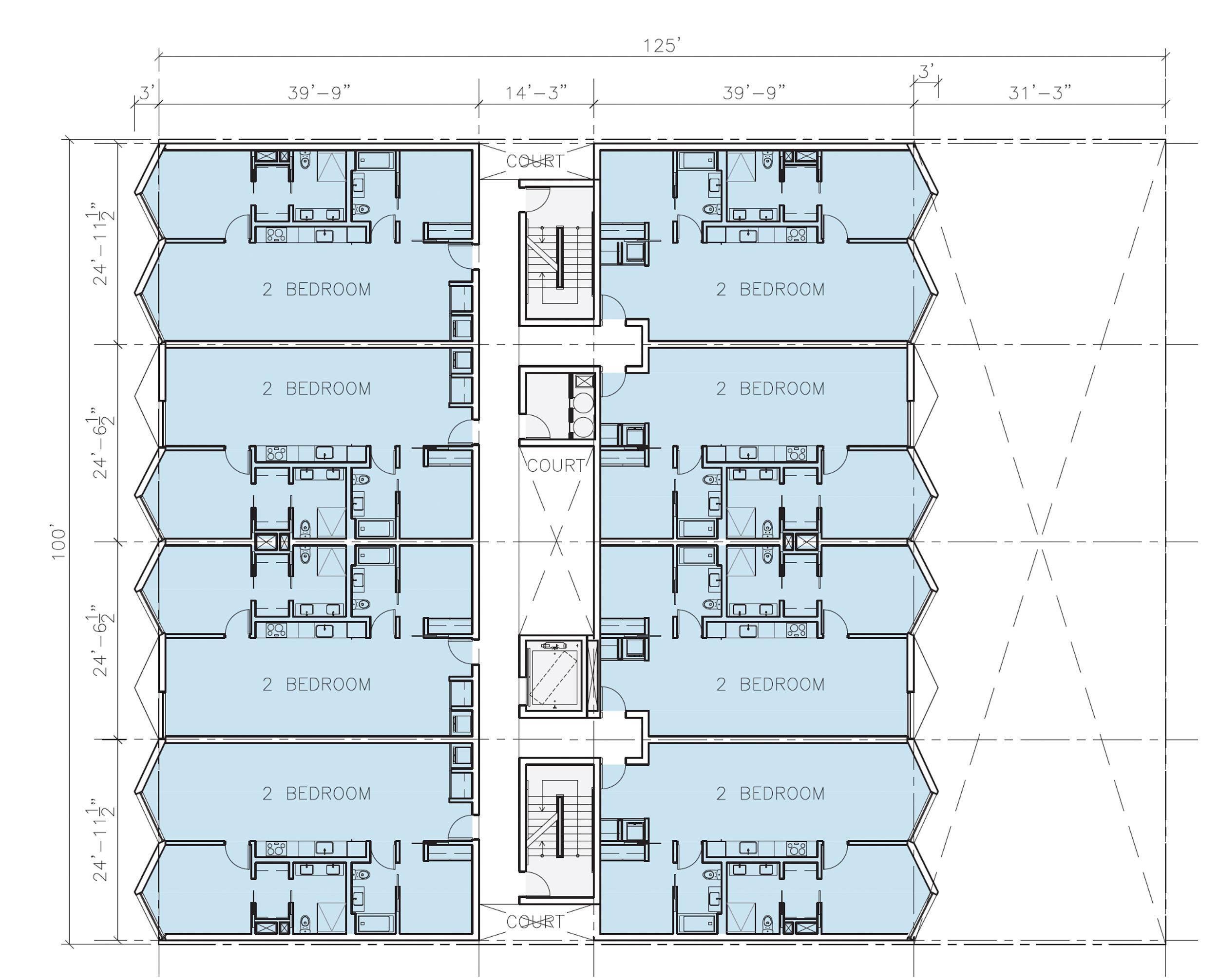 67-69 Belcher Street second-level floor plan, illustration by Stanley Saitowitz | Natoma Architects