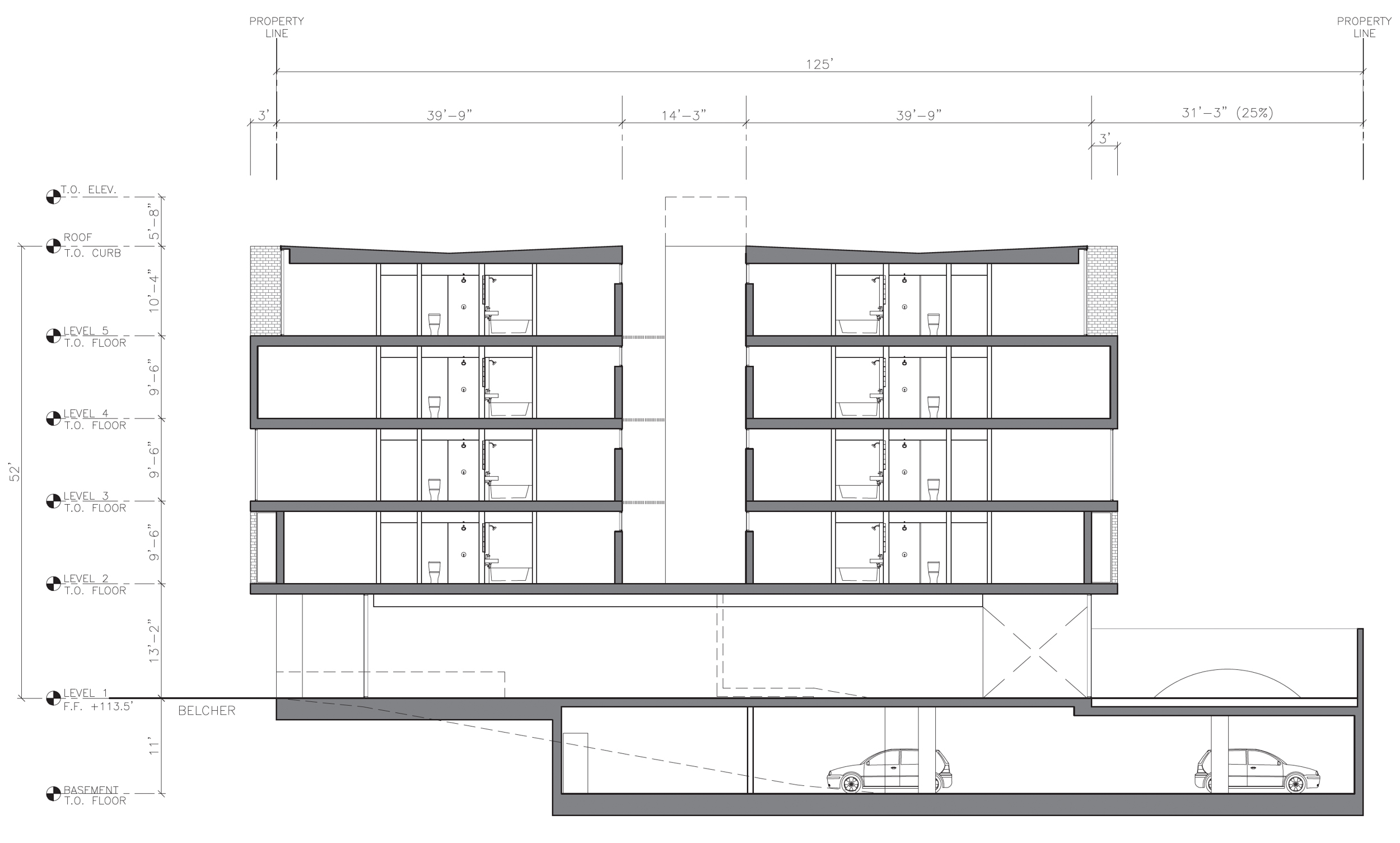 67-69 Belcher Street side-view elevation, illustration by Stanley Saitowitz | Natoma Architects