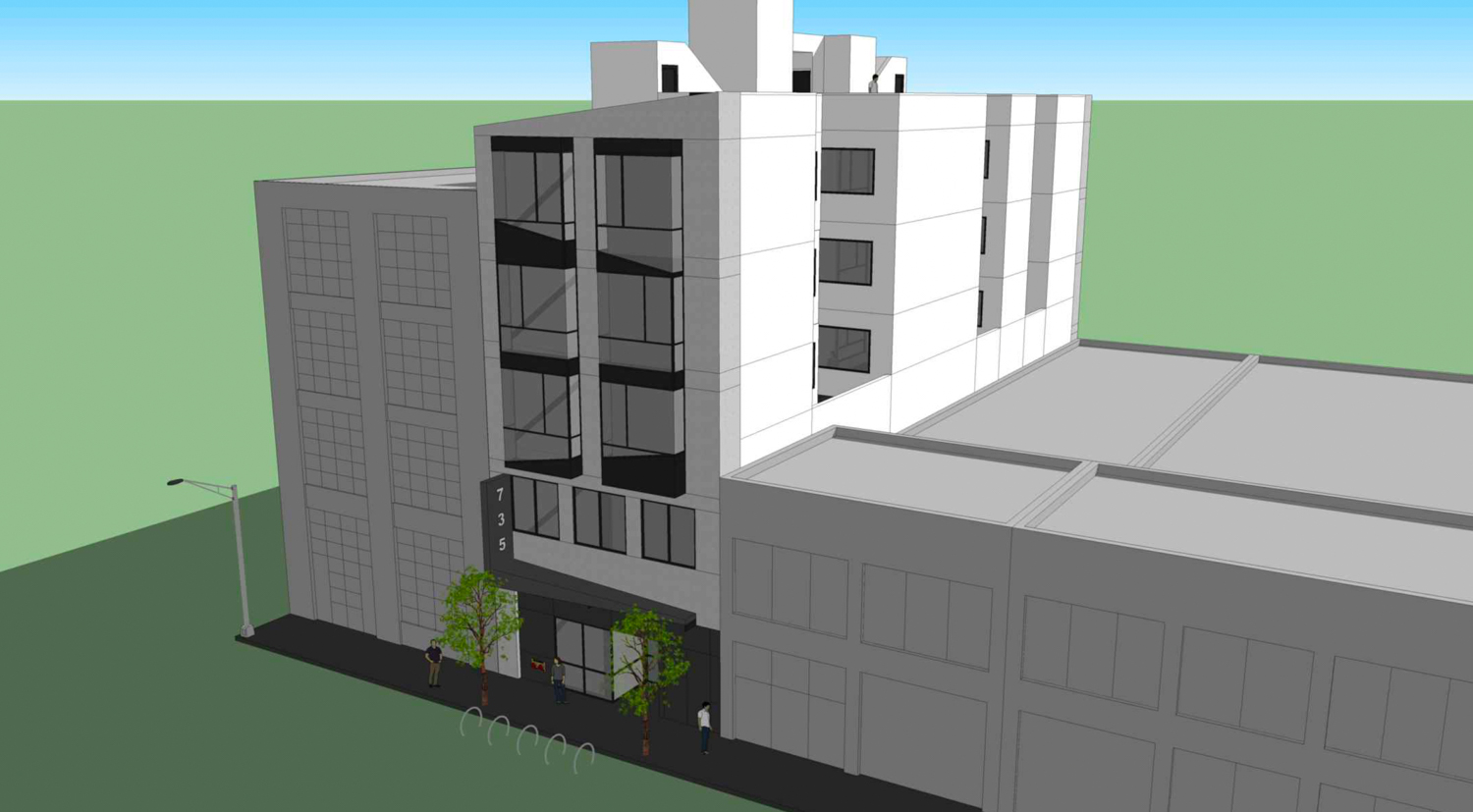 739 Bryant Street aerial view, design by Martinkovic Milford Architects