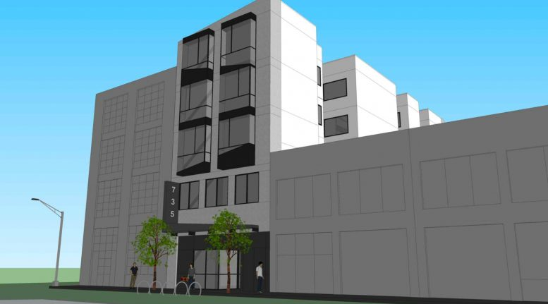 739 Bryant Street facade, rendering by Martinkovic Milford Architects