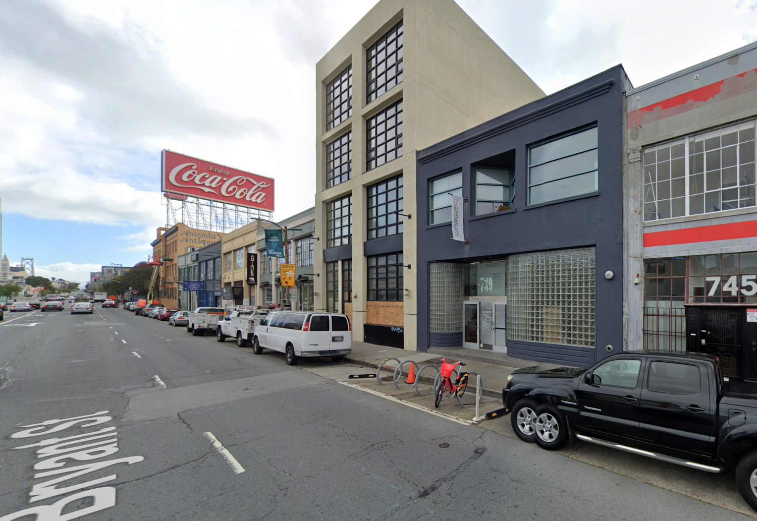 739 Bryant Street nearby the now-removed Coca Cola sign, image via Google Street View