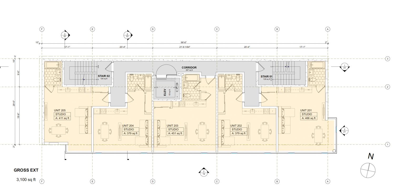 841 Polk Street average floor plan, design by RG Architecture
