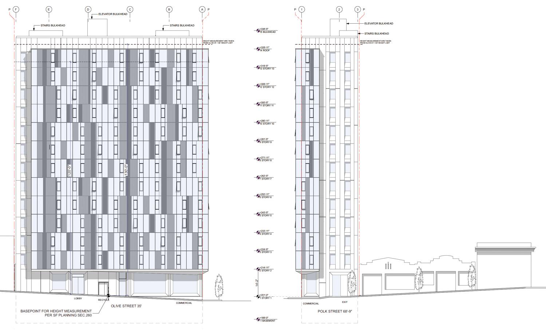841 Polk Street vertical elevation, design by RG Architecture