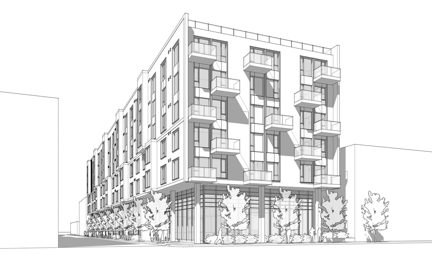 925 Bryant Street pedestrian perspective, illustration by BAR Architects