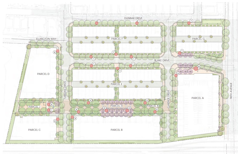 98th San Leandro street site map, illustration by Van Meter Williams Pollack