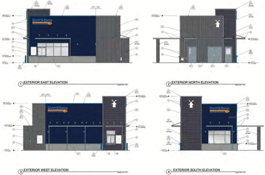 Dutch Bros Coffee Shop Elevations at 3171 El Camino Avenue
