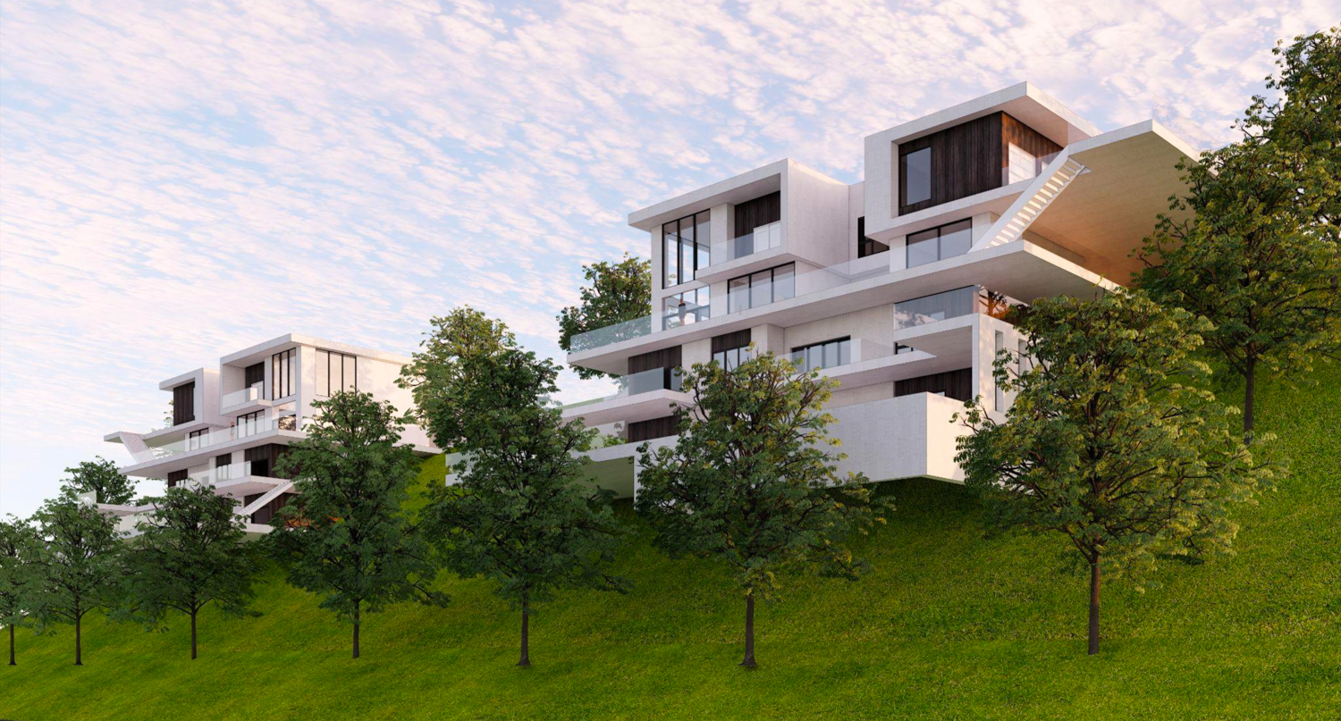 Oakville at 0 Keller Avenue houses downslope from the road, rendering by Collaborative Design Studio