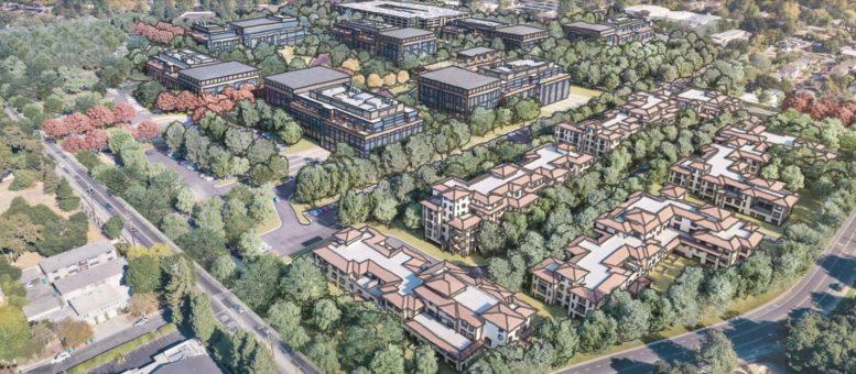Parkline at 333 Ravenswood Avenue aerial view, rendering via Lane Partners