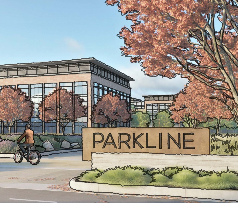 Parkline at 333 Ravenswood Avenue entry view, rendering via Lane Partners