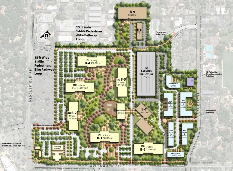 Parkline at 333 Ravenswood Avenue site map, rendering via Lane Partners