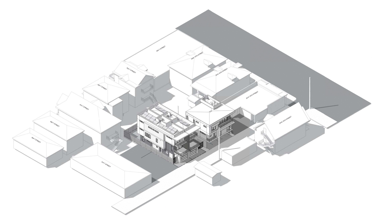 Tomato Alley Infill apartments aerial perspective, rendering by Ellis Architects