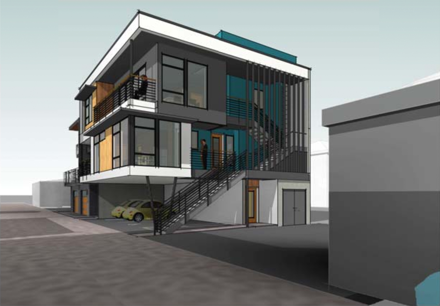 Tomato Alley Infill building at 2014 10th Street, rendering by Ellis Architects