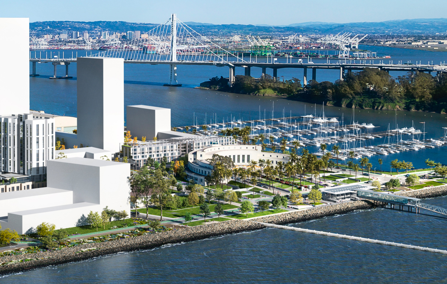 Treasure Island Parcel B beside the Administration Building with the Bay Bridge in the background, rendering by Steelblue