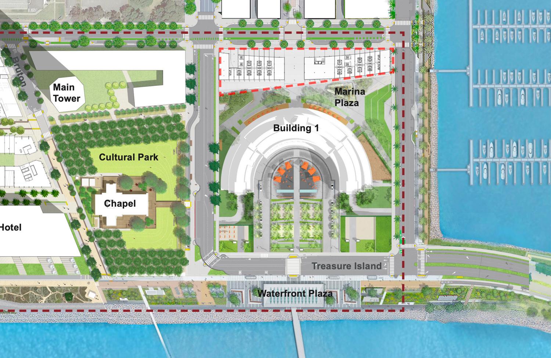 Treasure Island corner site plan, rendering by Steelblue