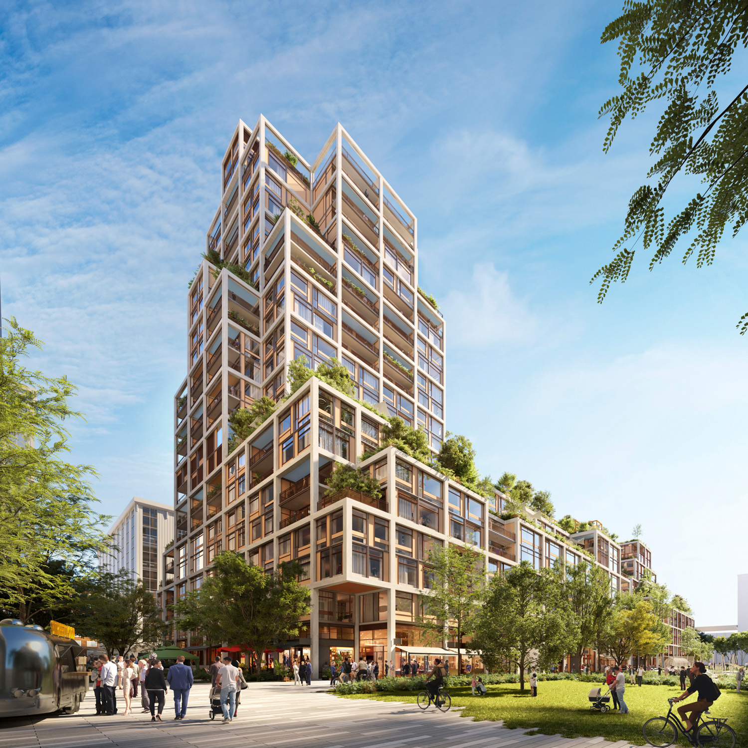 Updated design of Blocks 7A and 8 of the Potrero Power Station, design by Foster + Partners
