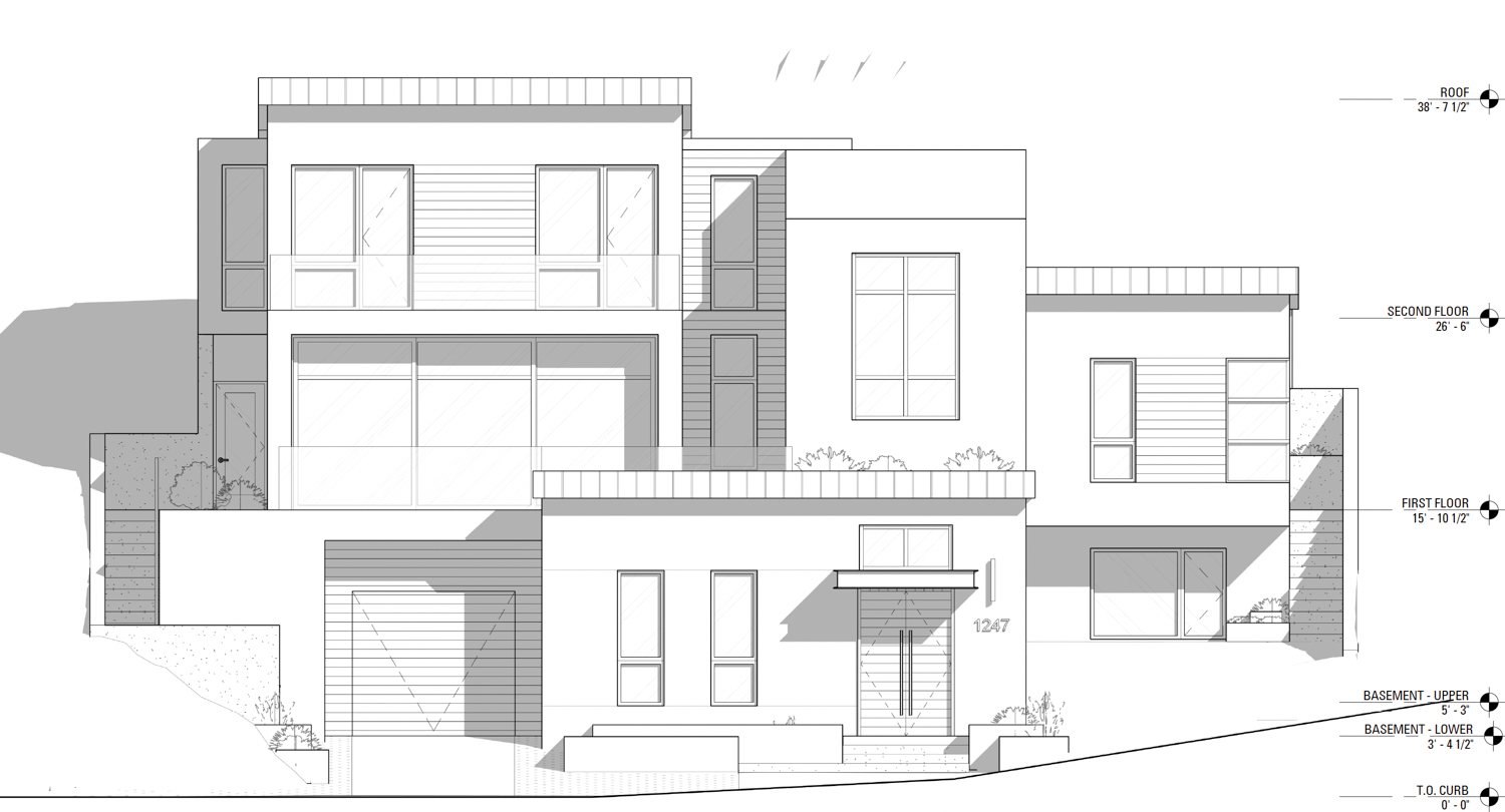 1247 Bosworth Street frontal elevation, illustration by Martinkovic Milford Architects