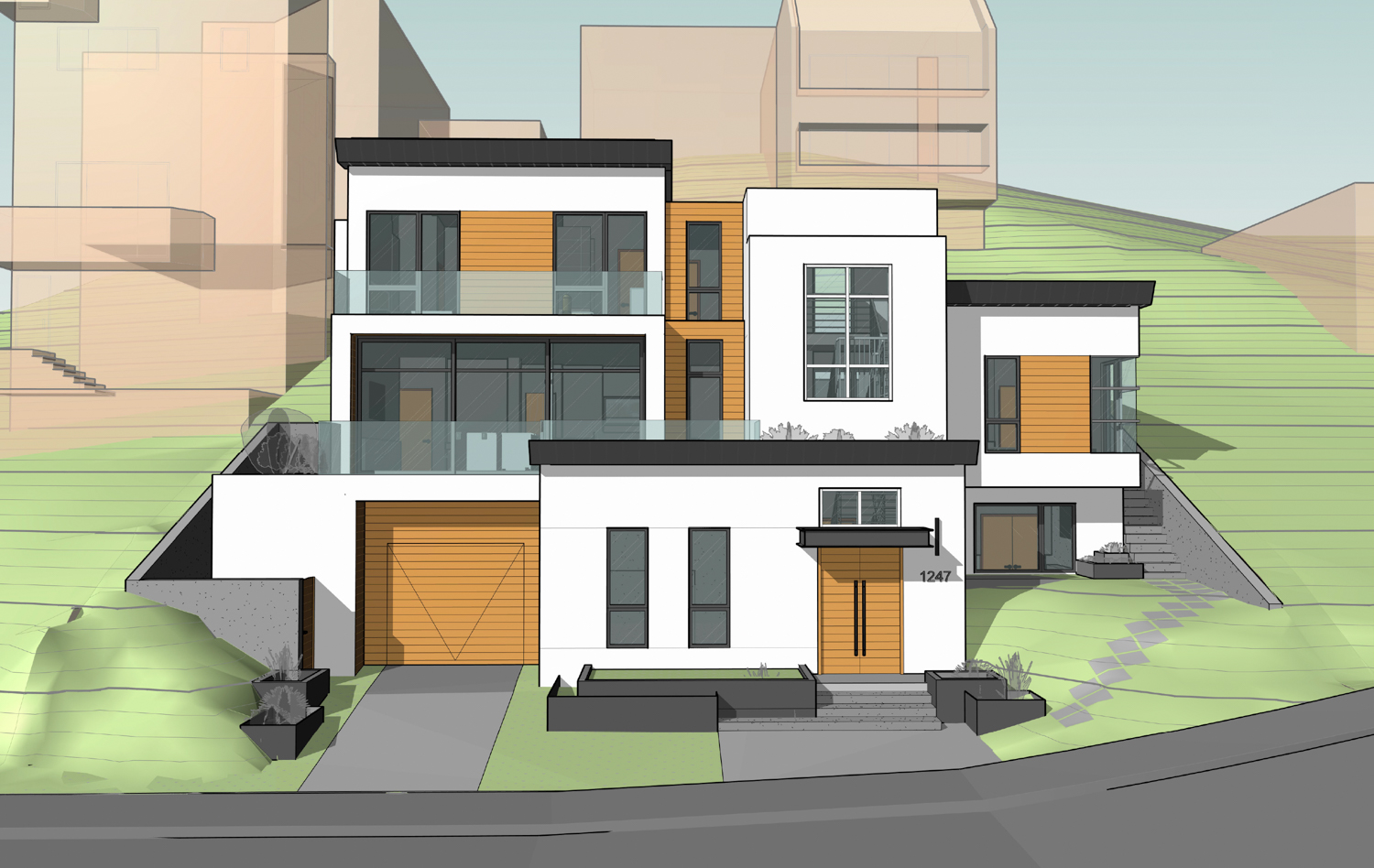 1247 Bosworth Street frontal view, rendering by Martinkovic Milford Architects
