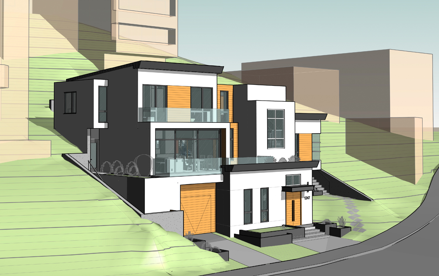 1247 Bosworth Street hillside building, rendering by Martinkovic Milford Architects