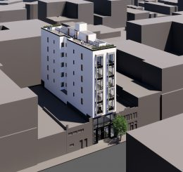 159 Fell Street aerial view, rendering by Winder Gibson Architects