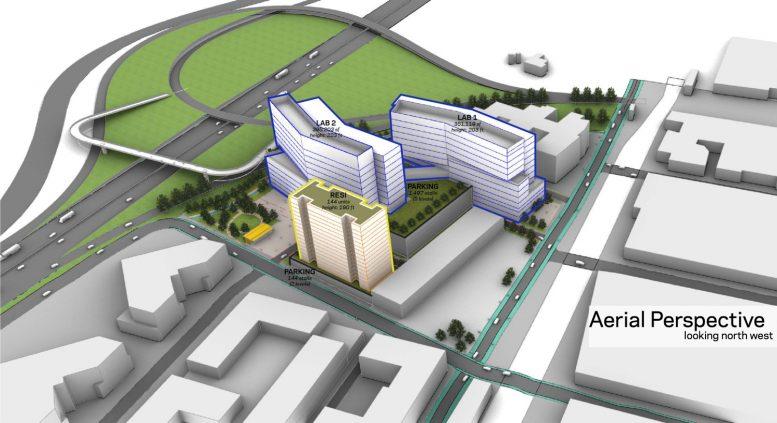 1650 65th Street Atrium Longfellow development aerial view, image via Longfellow