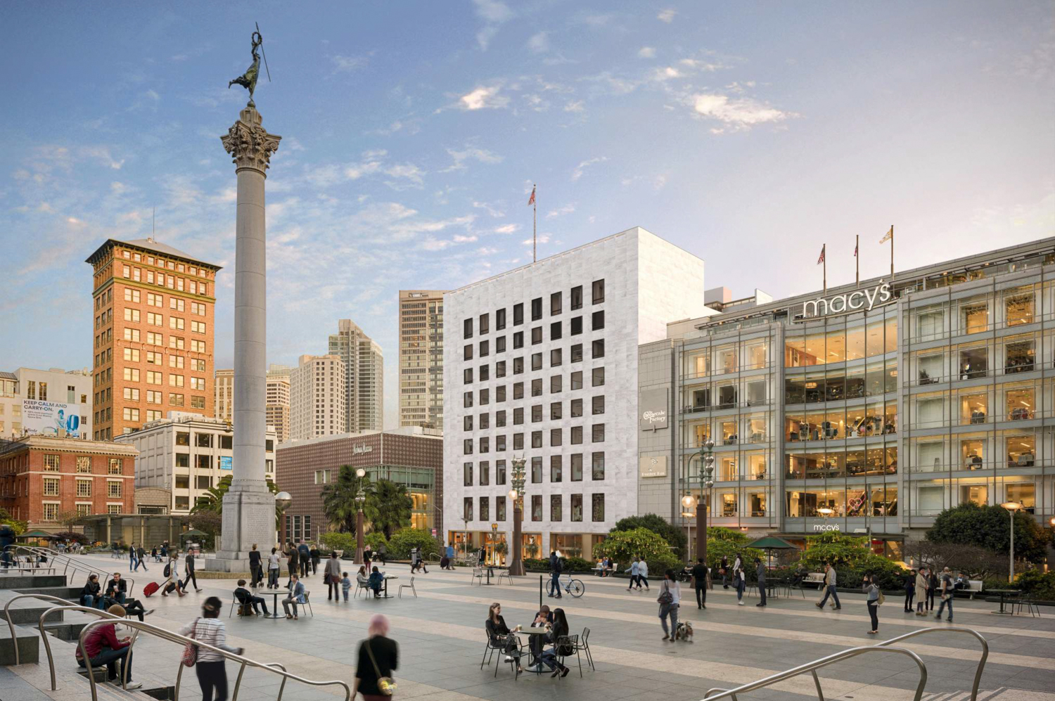 233 Geary Street from across Union Square, rendering by Handel Architects