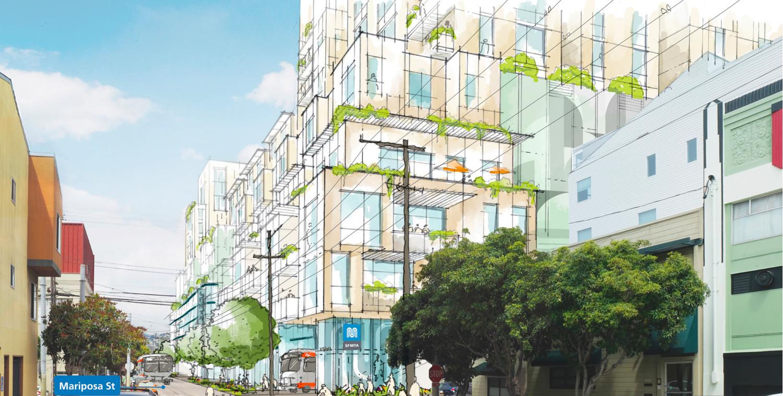 2500 Mariposa Street pedestrian view, rendering by Sitelab Urban Studio