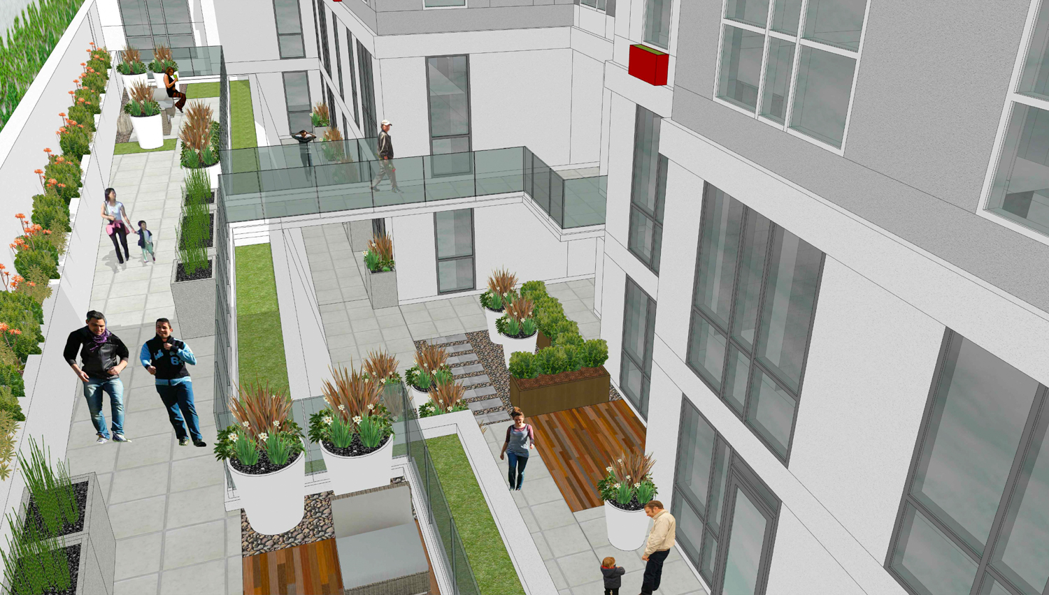 2588 Mission Street first-floor and basement courtyard, rendering by Ian Birchall and Associates