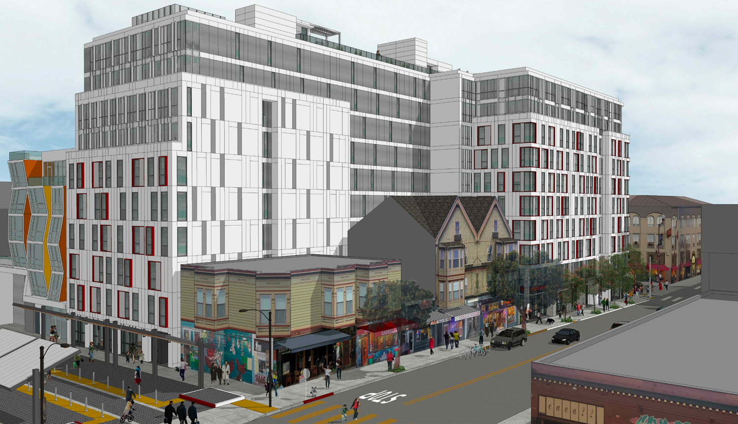 2588 Mission Street from the corner for 22nd Street and Bartlett Street, rendering by Ian Birchall and Associates