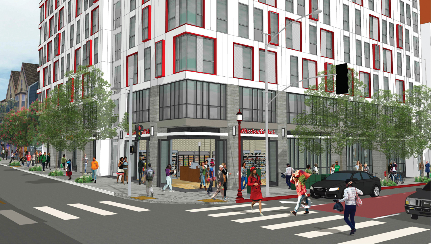 2588 Mission Street pedestrian view, rendering by Ian Birchall and Associates