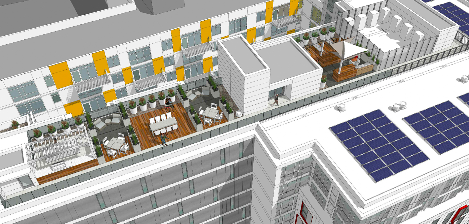 2588 Mission Street rooftop deck, rendering by Ian Birchall and Associates