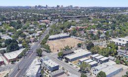 3311 Broadway with the Sacramento central business district skyline, image via Google Satellite