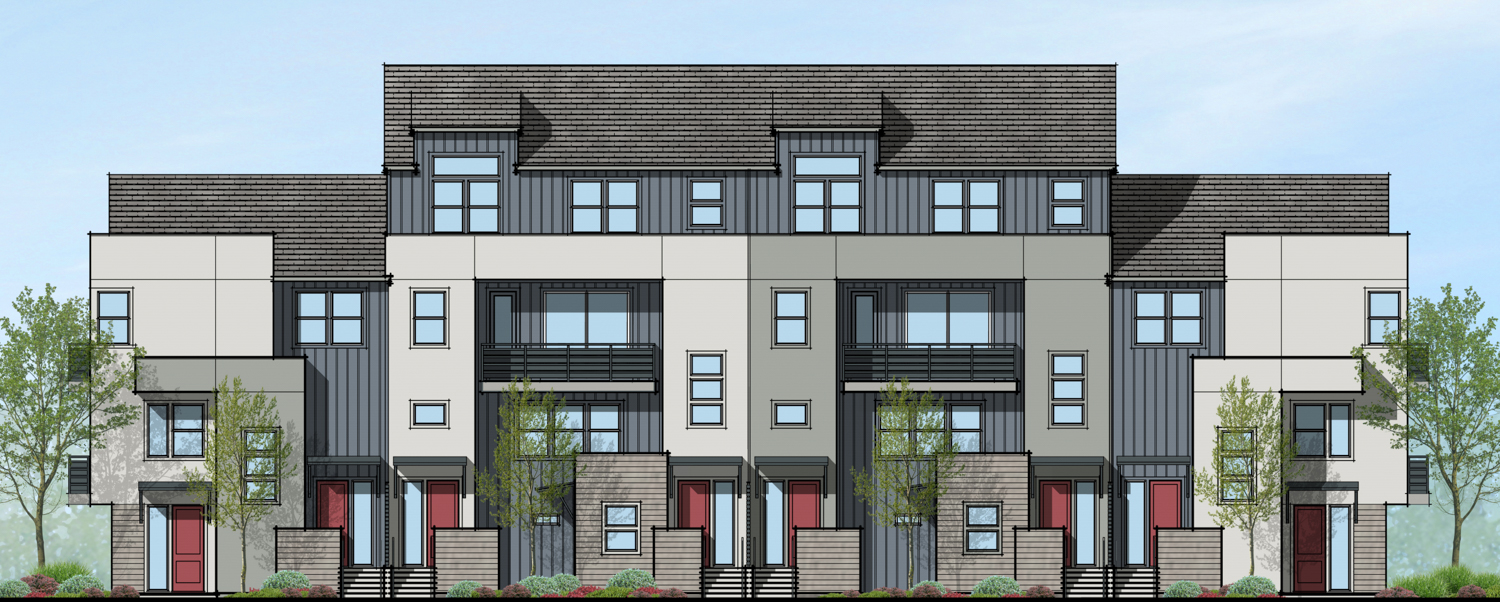 500 Deerwood Road elevation of an four-story ten-unit townhome building, rendering by SDG Architects