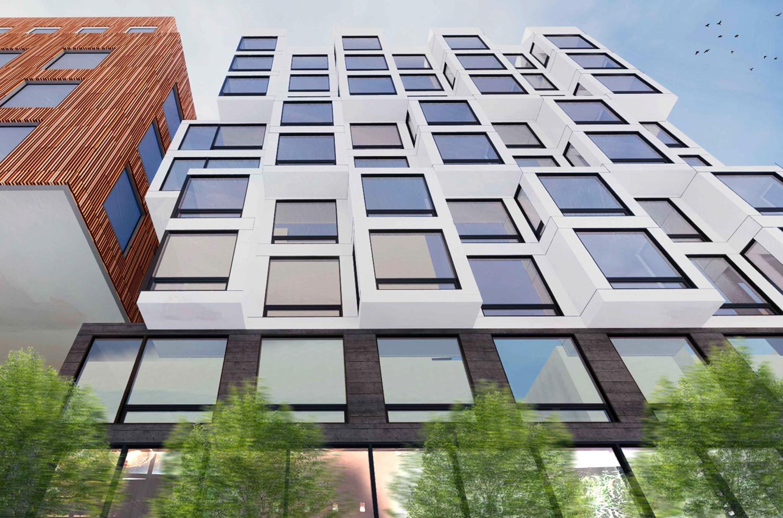 560 Brannan Street facade close-up, rendering by Iwamotoscott Architecture