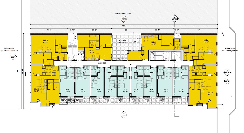 560 Brannan Street second-level floor plan, rendering by Iwamotoscott Architecture
