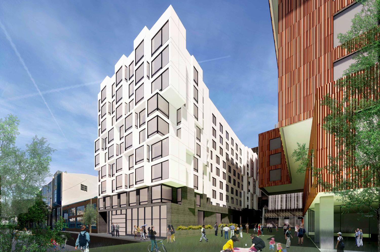 560 Brannan Street view from Freelon Street, rendering by Iwamotoscott Architecture