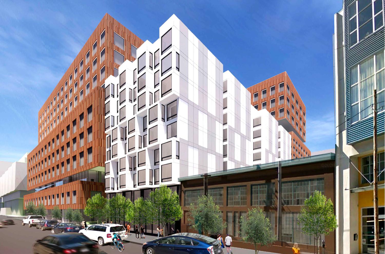 560 Brannan Street with 598 Brannan Street immediately beside it, rendering by Iwamotoscott Architecture