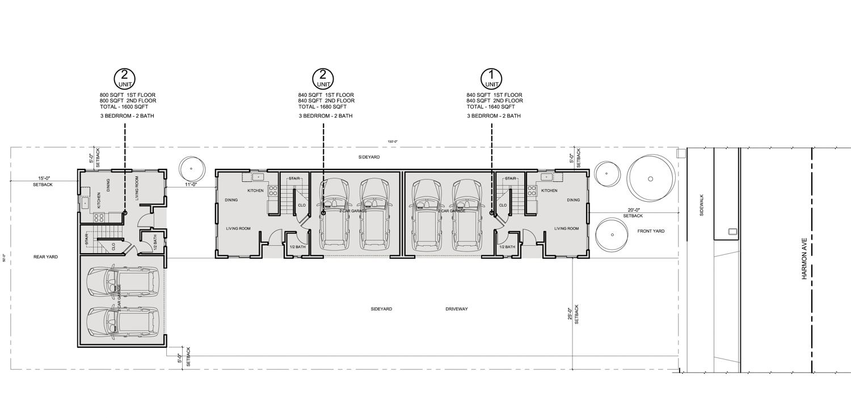 6225 Harmon Avenue site plan, illustration by Phan Designs