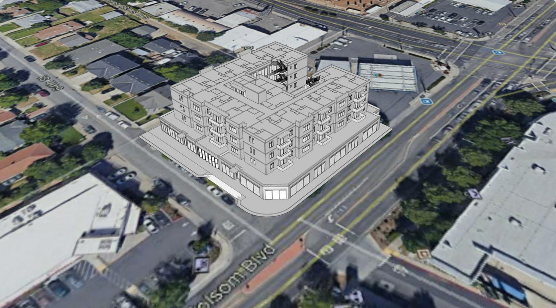 6409 Folsom Boulevard aerial view, rendering by Opus AE Group