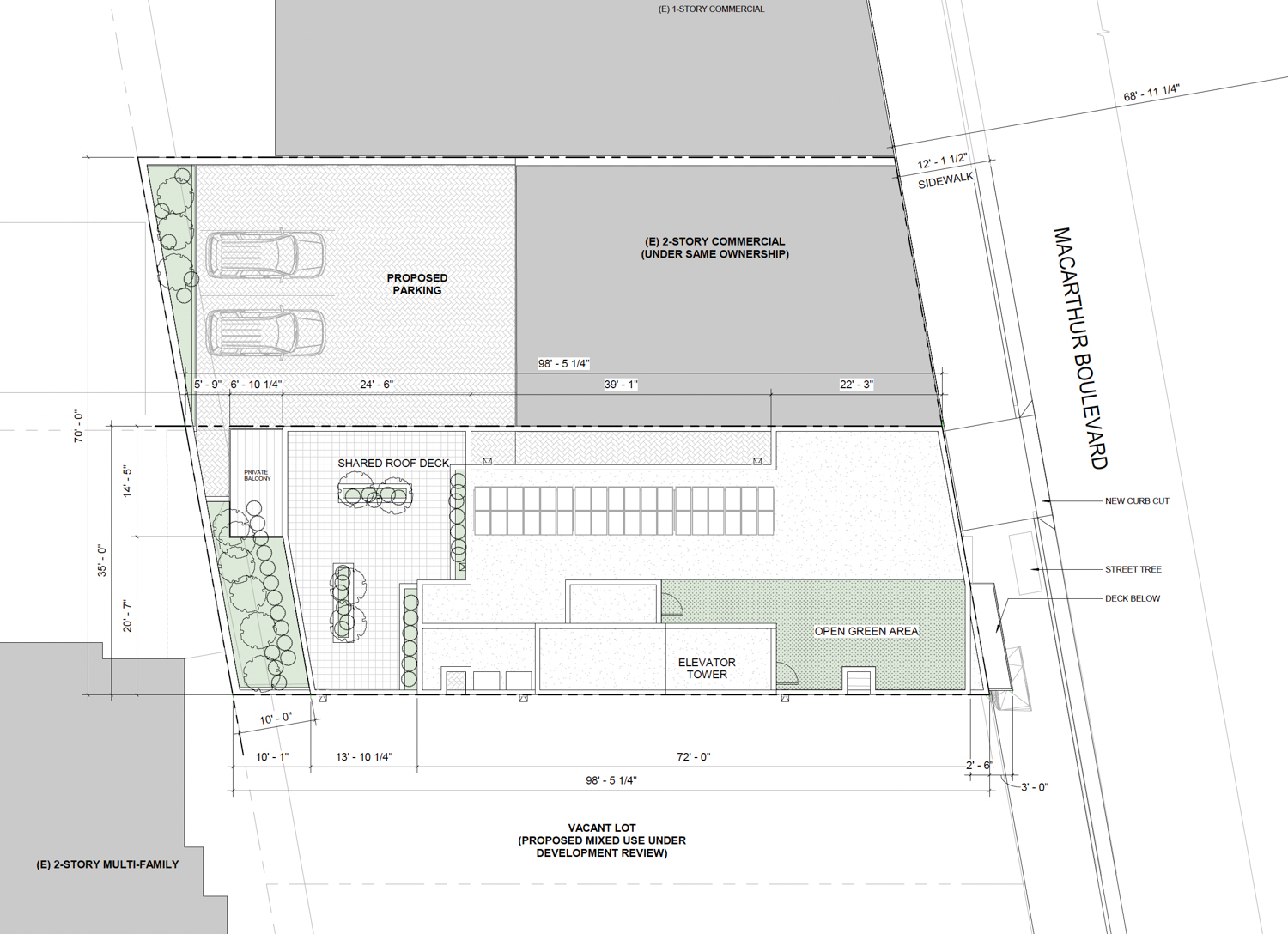7521 MacArthur Boulevard ground-level floor plan showing the parking garage extension in the rear lot of the adjacent building, rendering by Devi Dutta Architecture