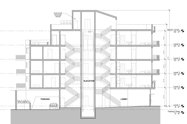 7521 MacArthur Boulevard vertical elevation, illustration by Devi Dutta Architecture