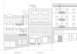 809 Sacramento Street facade elevation, illustration by Nie Yang Architects