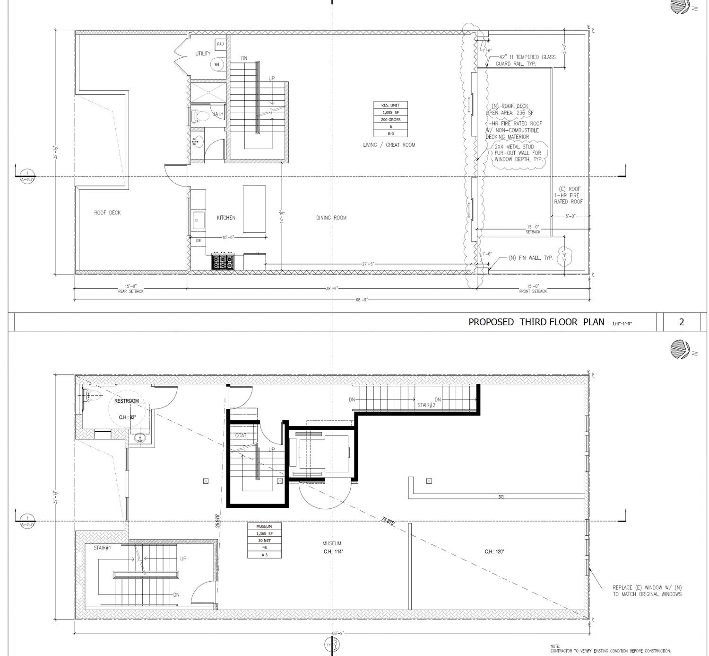 809 Sacramento Street floorplans, illustration by Nie Yang Architects