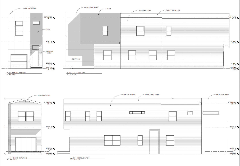 868 36th Street facade elevations, illustration by Cheryl Lima