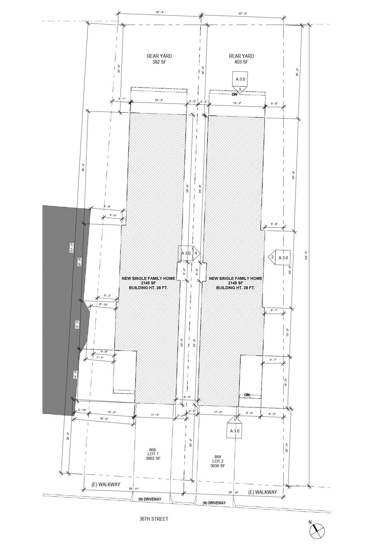 868 36th Street, site plan illustration by Cheryl Lima