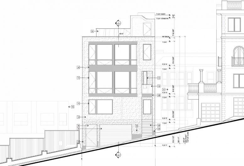 939 Lombard Street elevation, illustration by Curtis Hollenbeck