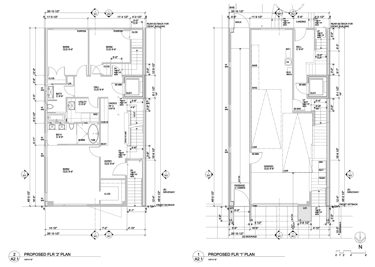939 Lombard Street first and second level floorplan, illustration by Curtis Hollenbeck